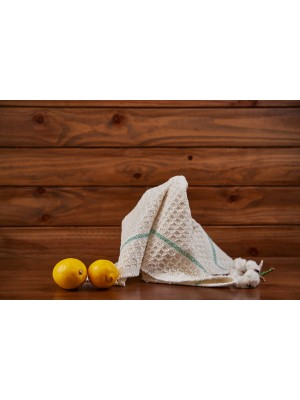 paño de cocina blanco con rayas finas verdes iris hantverk higiaeco